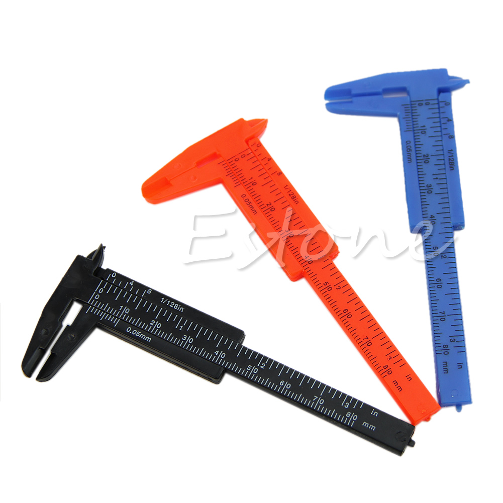 New 1Pc Mini Plastic Ruler Sliding 80mm Vernier Caliper Gauge Measure Tools