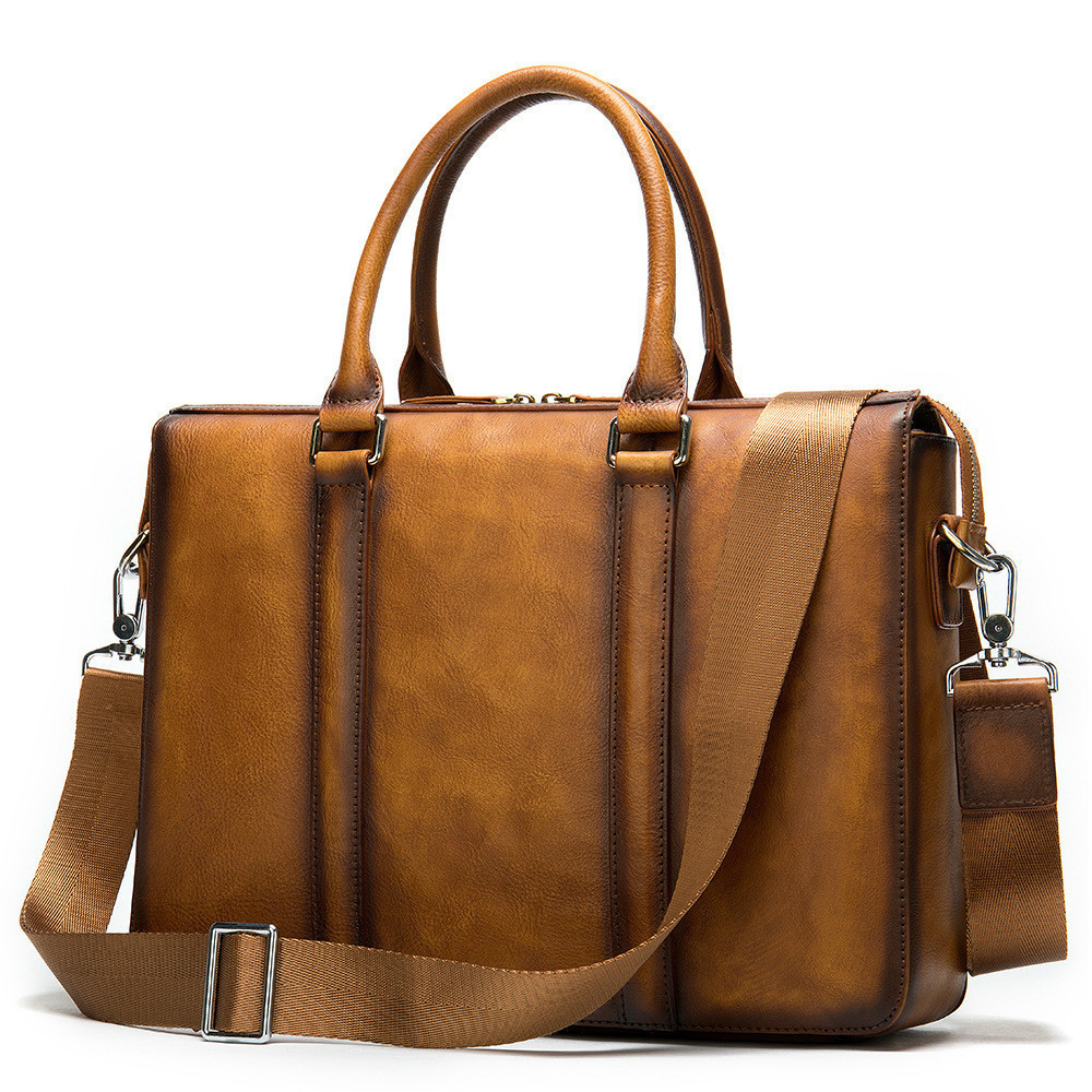 Man Briefcase Leather Genuine Messenger Computer Bag Office Bags For Men Wipe Color 14 Inch Luxury Handbags Hands Free Shipping
