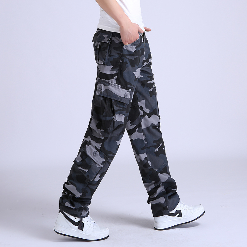 Camo Pants Men Military Multi Pocket Cargo Trousers Hip Hop Joggers Urban Overalls Outwear Camouflage Tactical Pants Wholesale