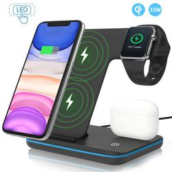 Wireless Charger Stand 3 in 1 Qi 15W Fast Charging Dock Station for Apple Watch iWatch 6 5 4 AirPods Pro iPhone 12 11 XS XR X 8