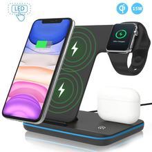 Беспроводное зарядное устройство 3 в 1 Qi 15 Вт, док станция для быстрой зарядки Apple Watch iWatch 5 4 3 AirPods Pro для iPhone 11 XS XR X 8