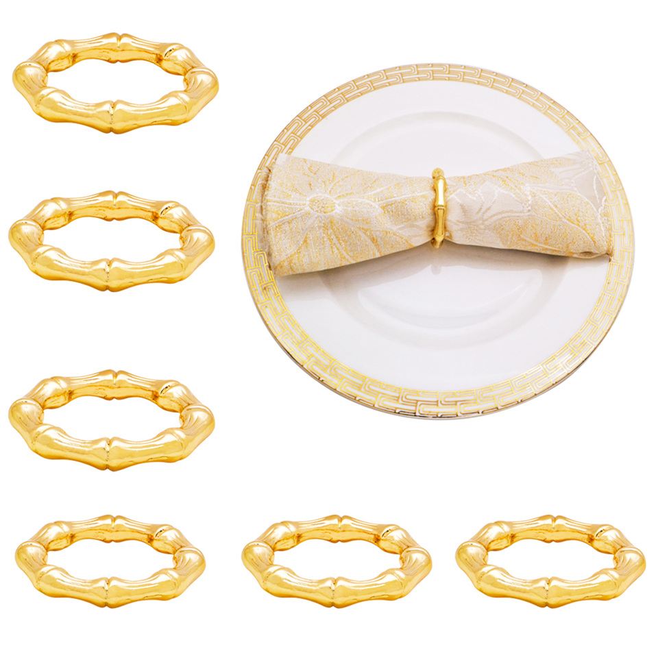 TAI Top Free Shipping 6pcs Bamboo Shape Napkin Rings Holder Metal Towel Ring for Family Dinners Wedding Partiy Table Decoration|Napkin Rings| |  - title=
