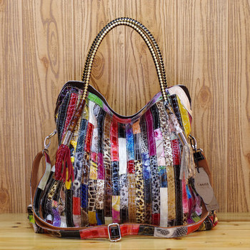 Genuine Leather Cowhide Snake Pattern Colorful stripes spell Characteristic Shoulder Diagonal Portable Casual Female bag Q445
