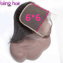 Bling Hair 6*6 Brazilian Straight Hair Closure Free/Middle/Three Part 8 22 Inch Remy Human Hair Closure Swiss Lace Natural Color