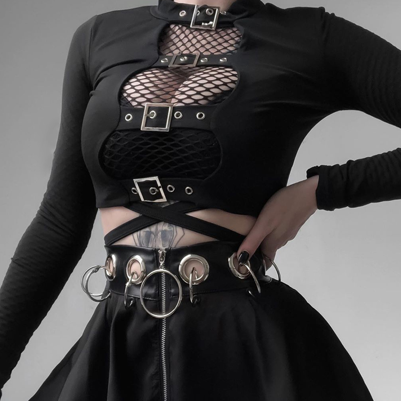 InsGoth Sexy Women Crop Tops Hollow Out Buckle Long Sleeve Female Bodycon Tops Gothic Punk Black Tops Streetwear Party Lady Tee