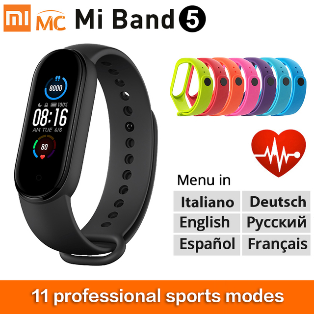 "New Xiaomi Mi Band 5 Smart Bracelet 1.1"" dynamic color-display Miband 5 Wristband Fitness Tracker Heart Rate Monitor Smartband"