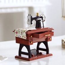 Mini Sewing Machine Music Box Furniture Music Model Box Plastic Home Decoration Accessories For Kids gift