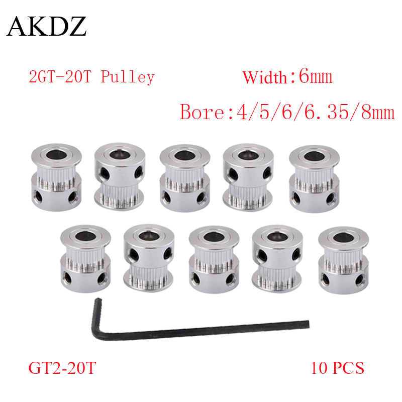 10PCS GT 20 Teeth 2GT 2M Timing Pulley Bore 4/5/6/6.35/8mm for 2MGT GT2 Synchronous Belt Width 6/10mm Small Backlash 20Teeth 20T