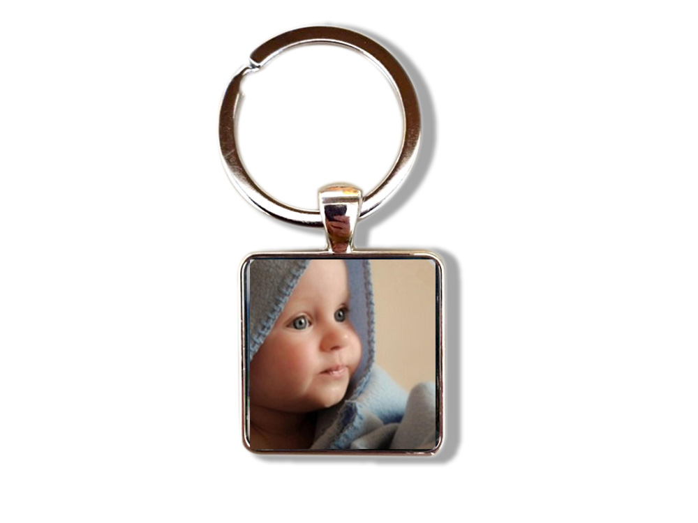Custom Your Family Pet Photo Square Keychain Gift For Family Friend Glass Cabochon Photo Personalized Jewelry