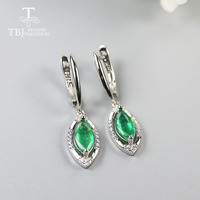TBJ ,Natural 1.5ct zambia emerald clasp earring mq 5*10mm 925 sterling silver real gemstone jewelry for women wife