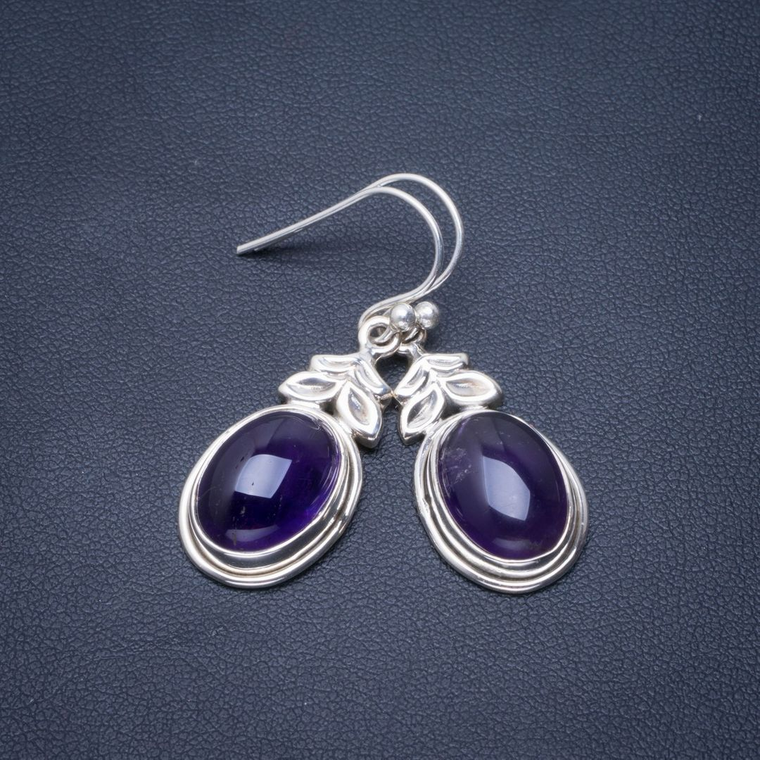 Natural Amethyst Handmade Unique 925 Sterling Silver Earrings 1.5 B2213