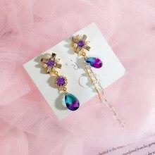 Fashion Korean Colorful Rhinestone Pendant Asymmetric Tassel Earrings Ladies Long Shiny Crystal Jewelry 6A1002