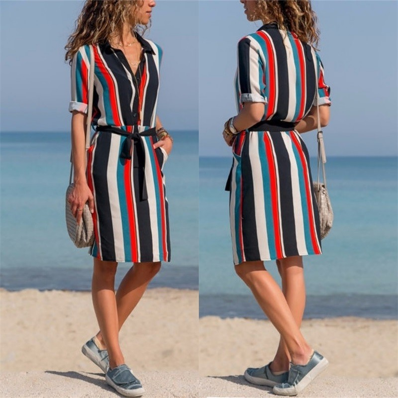 Dress 2020 Summer Striped A-line Print Boho Beach Dresses Women Long Sleeve Office Shirt Dress Mini Party Dress Vestidos