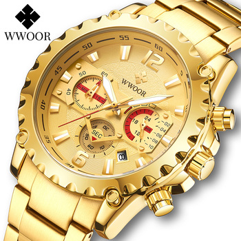 WWOOR Luxury Gold Full Steel Watch Men 2020 Sport Chronograph Quartz Wrist Watches For Men Military Waterproof Relogio Masculino relogio masculino wwoor luxury mens analog quartz business gold wrist watch men full steel waterproof sports watches male clocks