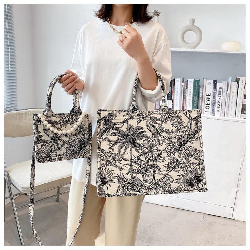 Large Capacity Women Handbags 2021New Shoulder Bags Fashion Crossbody Bag Printed Shopping Bag Pearl Canvas Bag Bolsas Feminina