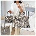 Вместительные женские сумочки, новинка 2021, сумки на плечо, модная сумка через плечо, сумка для покупок с принтом, Холщовая Сумка с жемчугом, ж...