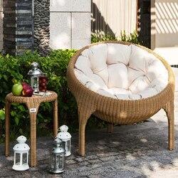 Patio mobiliario para el porche juegos de 3 piezas de sillas redondas de mimbre PE con mesa Juegos de muebles de jardín al aire libre (marrón)