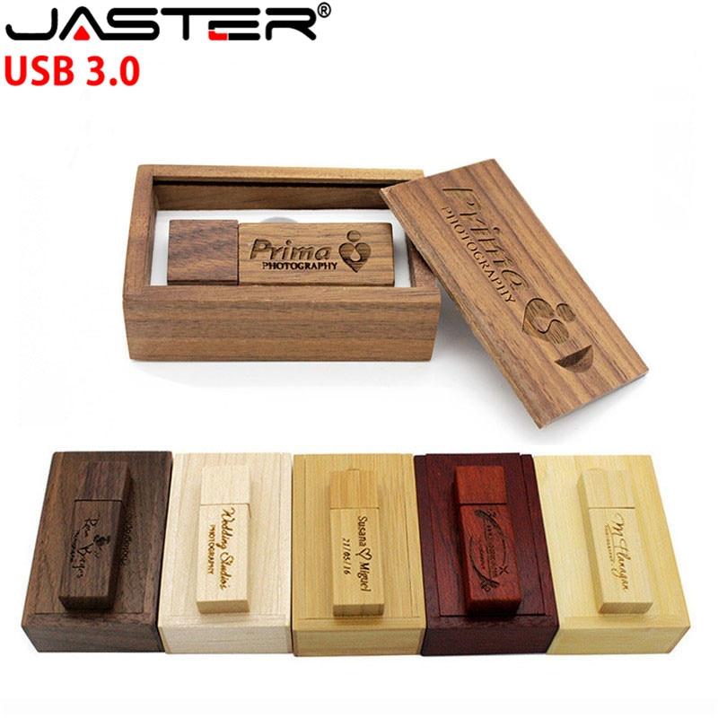 JASTER USB 3.0 Wooden Memory Stick Usb Flash Drive Pen Drive Pendrive 4gb 16gb 32GB 64GB U Disk Wedding Gift Free Custom Logo