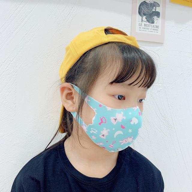 10Pcs PM2.5 Summer Children Mask Breathable Cartoon Pattern Unicorn Anti Smog Mask 3D Dust Mask Fits 4-12 Years Old Kid Washable 4