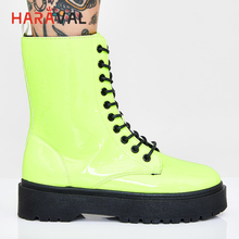 HARAVAL High Quality Woman Fashion Ankle Boots Luxury Genuine Leather Round Toe Thick Heel Lace up Shoes Solid Retro Boots ladies genuine leather lace up thick high heel ankle boots fashion round toe zipper winter women shoes black red
