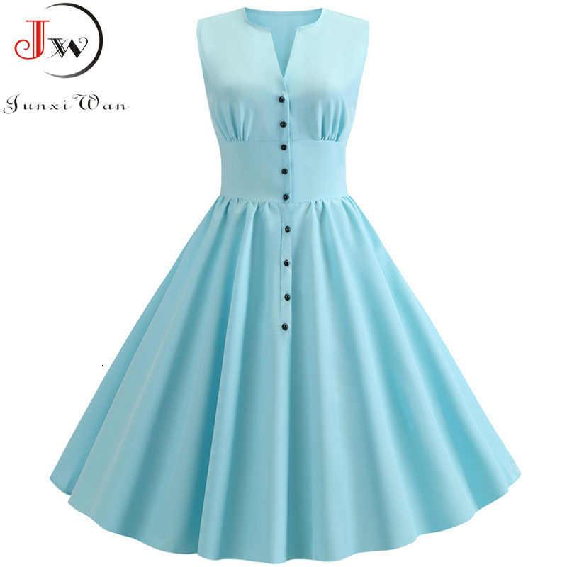 Летнее платье Для женщин Винтаж элегантные однотонные Цвет A-Line платье Robe Femme Повседневное v-образным вырезом и офисные вечерние миди платье-туника плюс Размеры
