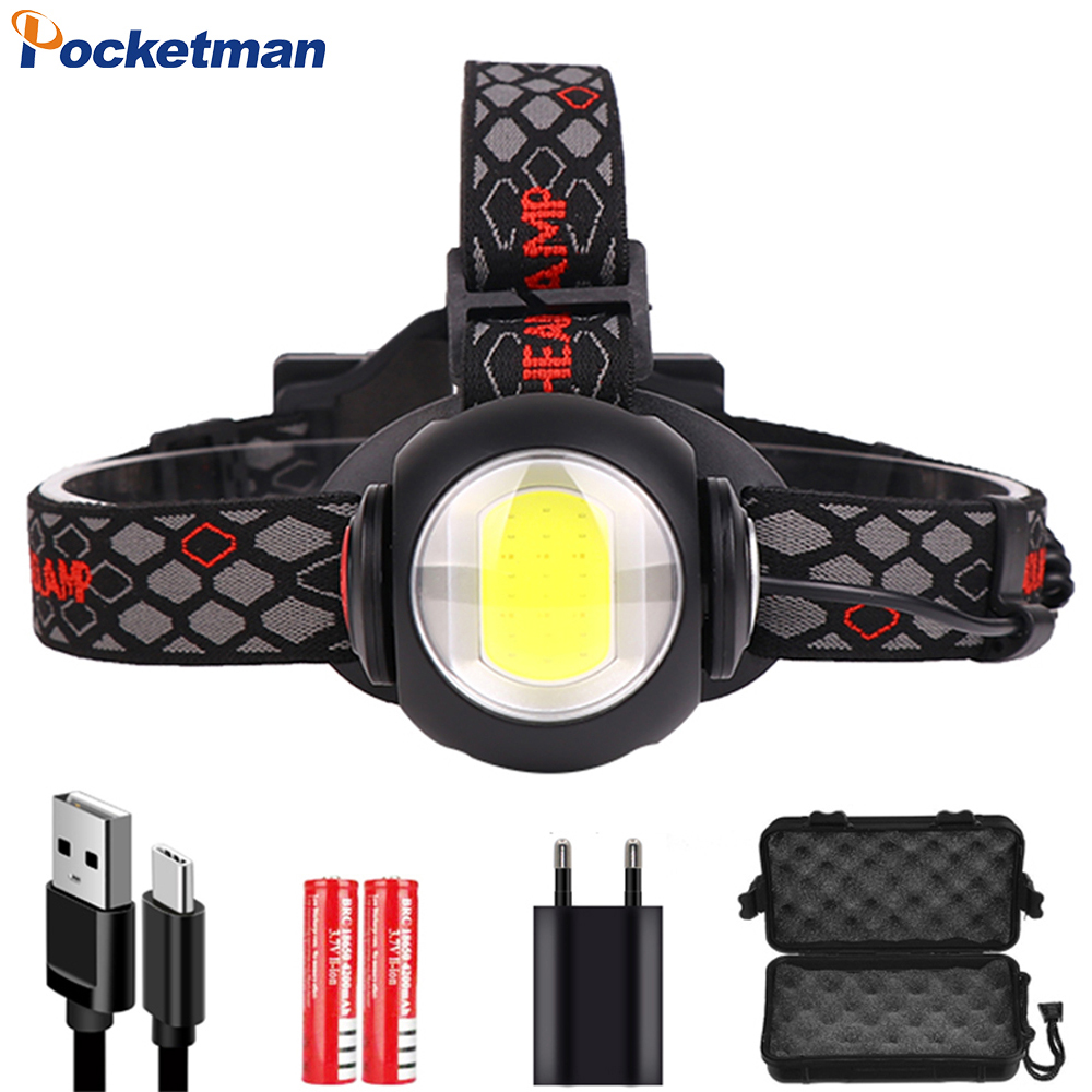 Powerful Adjustable Headlamp USB Rechargeable Headlight T6+COB LED Head Light White Red Light 9 Modes Head Lamp By 18650 Battery