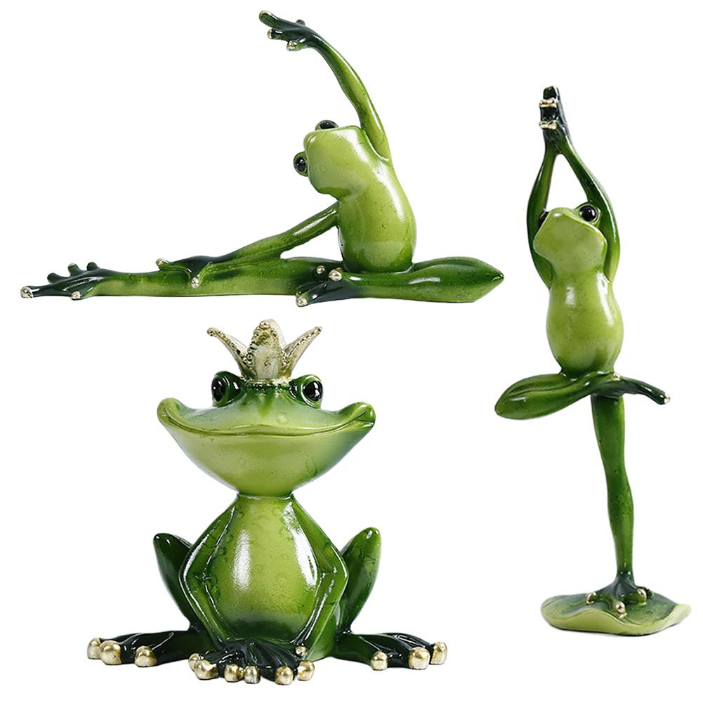 More Size Resin Yoga Frog Figurines Nordic Garden Crafts Decorations Porch Store Animal Ornaments For Home Accessories 40P