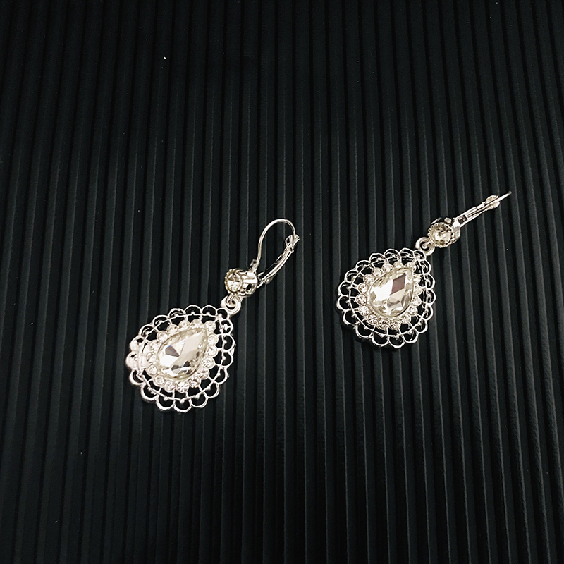 Vintage wedding jewelry set silver color crystal necklace for women Arab Muslim dress jewelry l five-piece set of jewelry sets