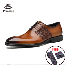 Derby Shoes Genuine-Wingtip Dress Brogues Business Wedding Pointed-Toe Phenkang Men Lace-Up