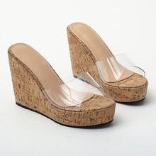 2020 Summer New Wedge Transparent Sandals Shoes 5666-1 women