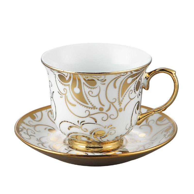 XING KILO European creative aristocratic coffee cup and saucer set ceramic mug coffee cup home flower tea milk tea wedding gift