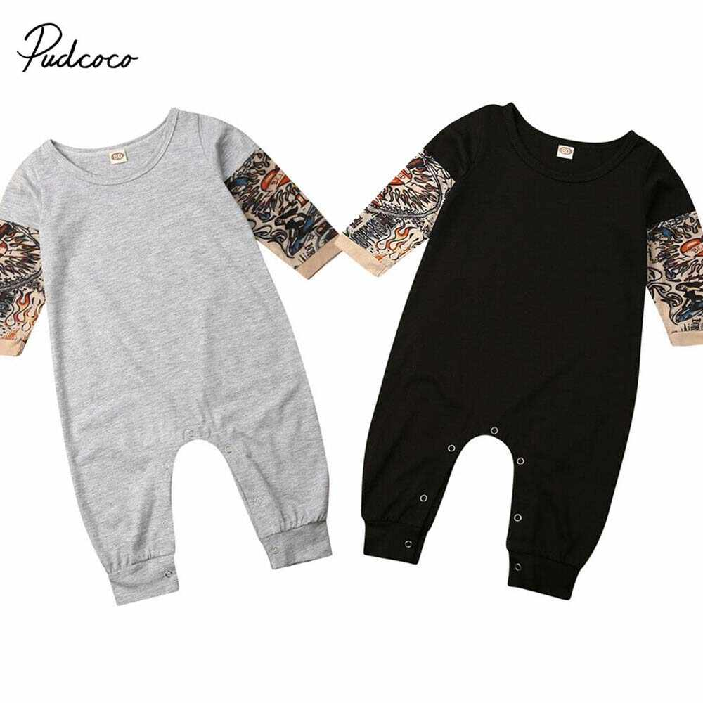 Toddler Baby Clothes Suit Infant Cotton Sweatshirt Sleeves Set Boys Girls Romper Tattoo Print Jumpsuit for Winter Fall Spring Tops Outfits