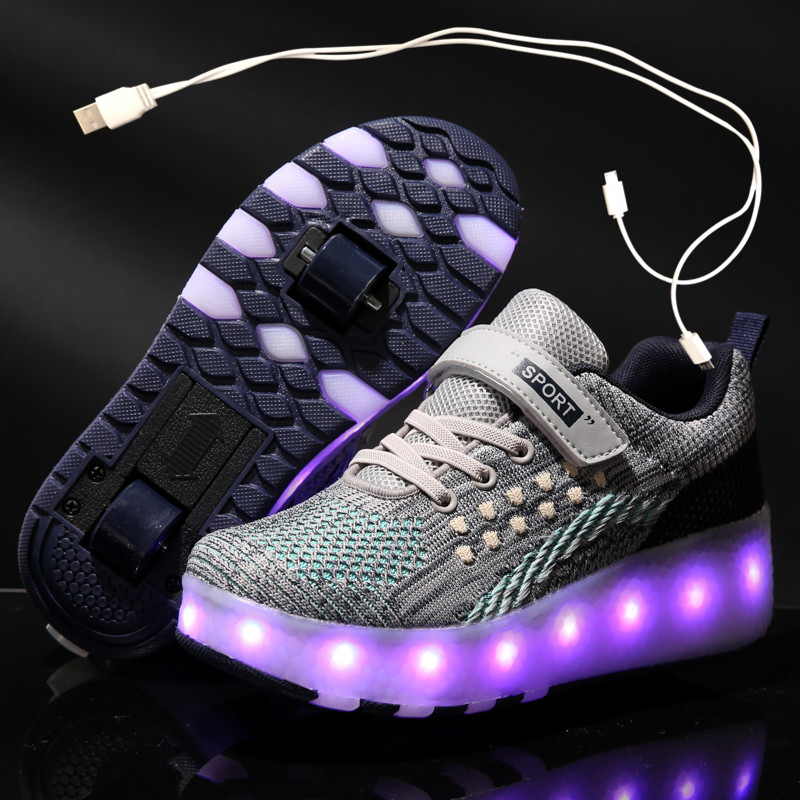 Heelies 2020 New USB Charge LED Colorful Children Kids Fashion Sneakers With Two Wheels Roller Skate Shoes Boys Girls Shoes 03