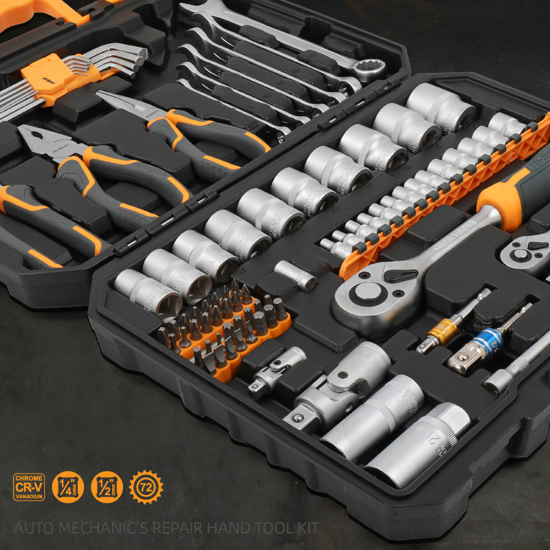 Tools : Hi-Spec 89pc Mechanic s Hand Tool Kit Set of Tools for Auto 1 2 1 4 Professional Socket Wrench Combination Tool Set with Toolbox