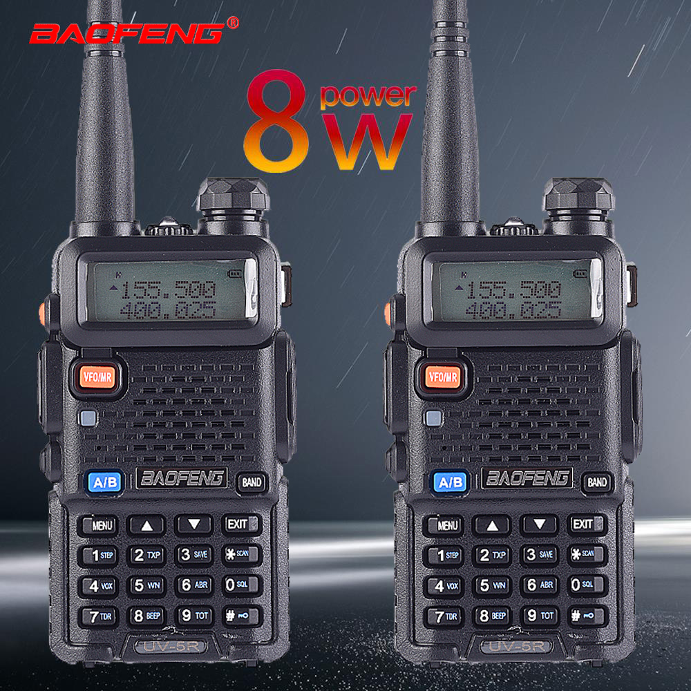 2pcs Baofeng UV-5R 8W True High Power 8 Watts Powerful Walkie Talkie Long Range 10km Dual Band Two Way Radio CB Portable Hunting