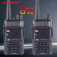 2pcs Baofeng UV 5R 8W True High Power 8 Watts powerful Walkie Talkie long range 10km Dual Band Two Way Radio CB Portable Hunting