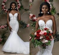 2020 Sexy Beaded Lace Mermaid Wedding Dress African Sweetheart Tull Sweep Train Black Girl Plus Size Bridal Wedding Gown