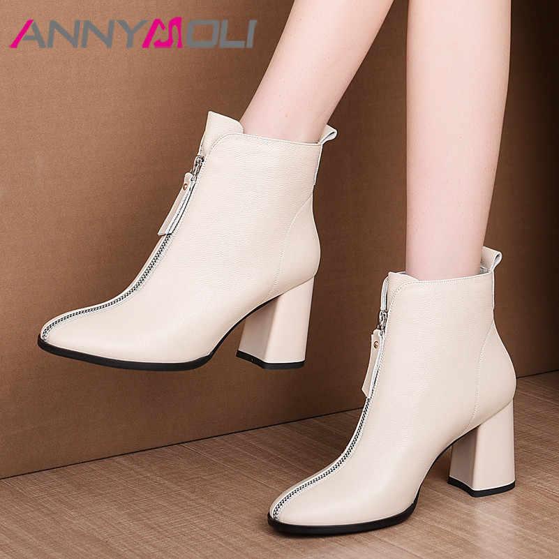 ANNYMOLI hiver bottines femmes en cuir véritable naturel épais talon haut bottes courtes en cuir de vache fermeture à glissière chaussures dame automne 34-39