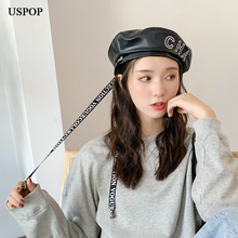 USPOP النساء القبعات بو إلكتروني قبعة الموضة إلكتروني الشريط القبعات الإناث الشتاء القبعات
