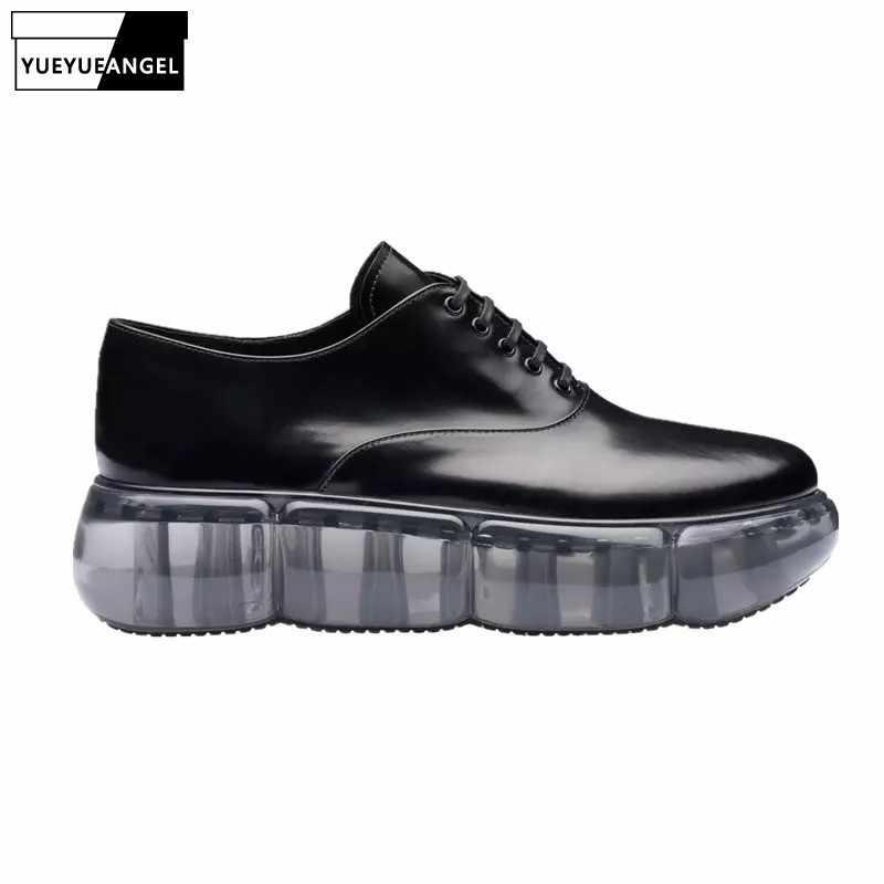 Almofada de ar transparente mulher tênis 2019 moda faculdade estilo britânico couro oxfords sapatos casuais do vintage sapatos plataforma