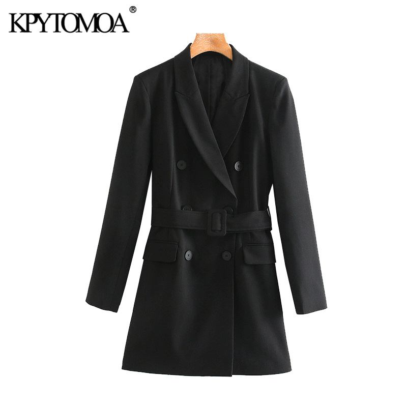 Vintage Stylish With Belt Double Breasted Blazers Coat Women 2020 Fashion Long Sleeve Office Wear Female Outerwear Chic Tops
