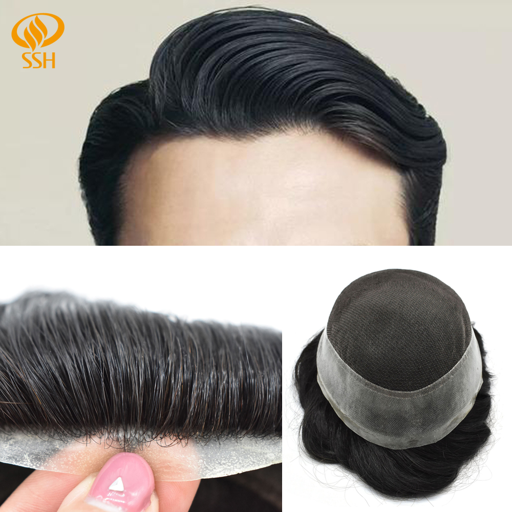 SSH Swiss Lace And PU Men Toupee Hair Replacement Systems Pure Handmade Mens Wig Hairpiece Remy Hair Replacement Prosthesis