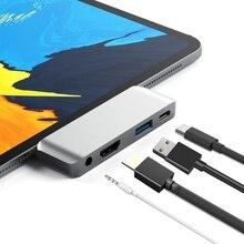 USB Typ-C Mobile Pro Hub Adapter mit USB-C PD Lade 4 K HDMI USB 3.0 & 3,5mm Kopfhörer jack-Kompatibel mit 2018 iPad Pro