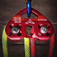 25KN Rock Climbing Zip Line Cable Trolley Fast Speed Dual Pulley Double Speed Pulley Climbing Rope Grab Ascender|Climbing Accessories| |  -