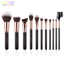 Docolor 11Pcs Makeup Brushes Set Profesional Foundation Bubuk Eyeshadow Blending Brushes Beauty Make Up Brushes Sintetis Rambut(China)