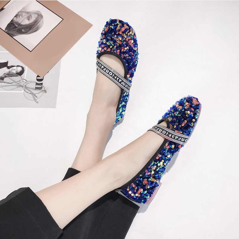 TINO KINO Neue Frauen Flache Mokassins Bling Faulenzer Mode Lässig Einzelnen Schuh Glitter Weiche Sohle Komfort Damen Slip Auf Weibliche