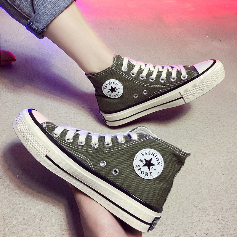 Spring/Autumn 2020 Women's Vulcanize Shoes Flats Shoes Woman Canvas Sneakers Women High Heel Lace-up Breathable High Quality