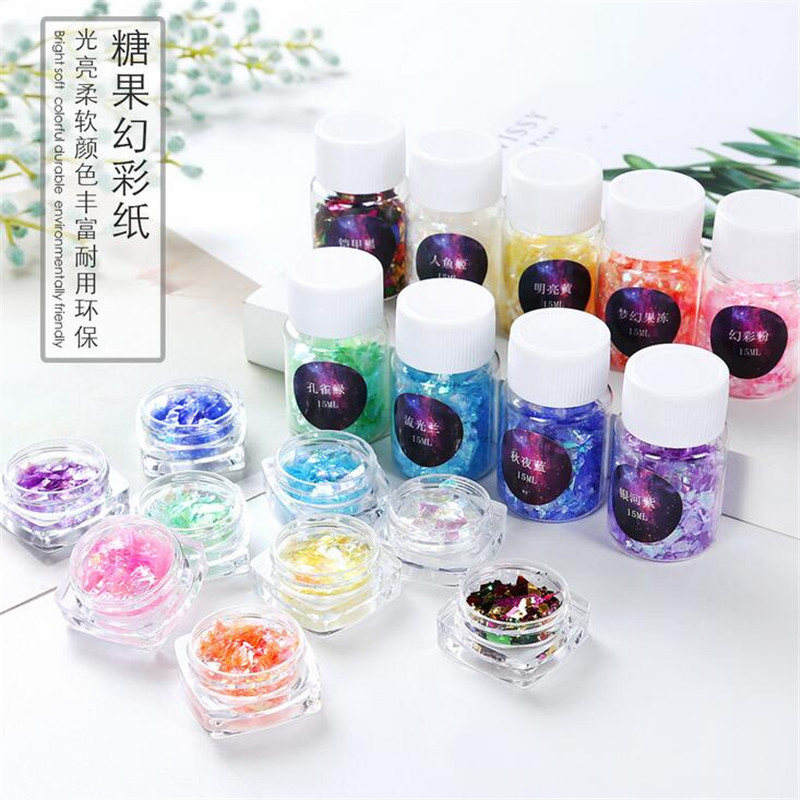 1box/15ml Different Sizes Colorful Magic Candy Paper Material Epoxy Mold Makeing Jewelry Filling For DIY Jewelry