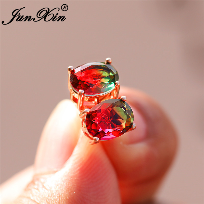 Colorful Red Green Rainbow Fire Crystal Double Earrings Rose Gold Wedding Oval Stud Earrings For Women Zircon Ear Jewelry Gifts