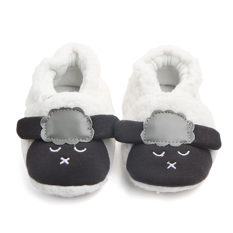 Autumn And Winter Models Cute Coral Velvet Sheep Baby Girl Children's Shoes Winter Warm Female Baby Comfortable Soft Bottom Shoe